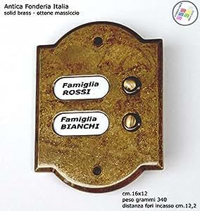 bouton interphone sonnette noms d 39 ext rieur avec deux boutons carillons laiton massif. Black Bedroom Furniture Sets. Home Design Ideas