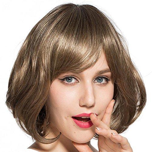 Kurz Bob Lockig Perücke mit Seite Knall Flaumig Welle Perücken Hoch Temperatur Faser Synthetik Braun Blond Haar Frau (It Frauen Kostüme Yourself Do)