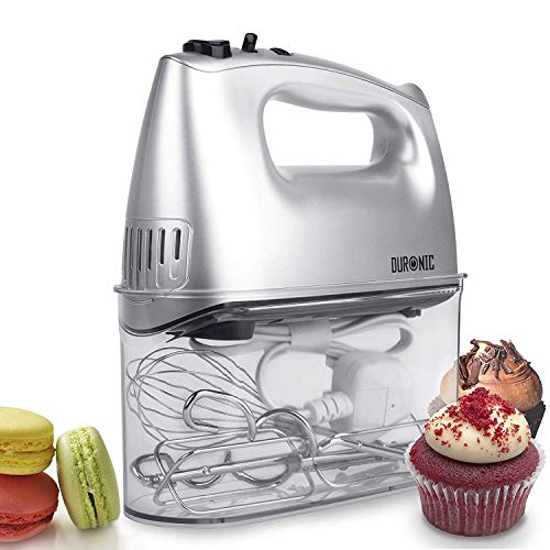 51YE ZFdwpL. SS500  - Duronic HM4 Electric Hand Mixer   400W   5 Speed   Baking Set with 5 Attachments: 2 Beaters, 2 Dough Hooks, 1 Whisk   All-in-One with Built-In Storage Case   Five Mix Settings & Turbo Speed