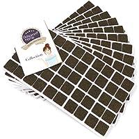500 x feltrini, 20x20 mm, quadrati, marrone, autoadesivi, di ottima qualità (spessi 3.5 mm)