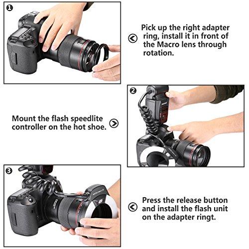 Neewer ® NW-14EXM Nahaufnamhe Universal LED Makro Ring Blitzlicht mit AF Zusatzleuchte für Canon Nikon Sony Panasonic Olympus Fujifilm Pentax und andere DSLR Kameras mit Single-Touch Blitzschuh