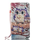 Phcases Samsung Galaxy J520 Flip Stand Phone Case Cover,3D Colorful Painting Premium PU Leather Wallet Handset Shell Book style Cellphone Magnetic Closure & Card Slots Protective Pocket-Owl.