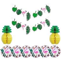 Décoration de fête tropicale Guirlande de flamants, nid d'abeille à l'ananas, assiettes de flamant rose, couteaux, fourchettes pour fête sur la plage d'anniversaire Hawaiian Luau d'été 52 pièces