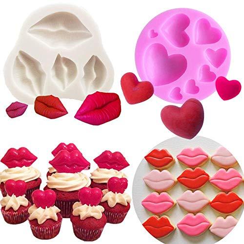 Mujiang Sexy Kiss Collection Fondant Form Rote Lippen Fondant Form 2 Stück