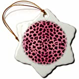 3dRose orn_20341_1 Pink Cheetah Animal Print Porcelain Snowflake Ornament, 3-Inch