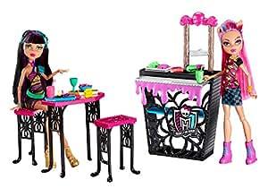 Monster High - CBX75 - Mobilier de poupée - Accessoire - La Cafétorreur - Cléo de nile et Howleen Wolf