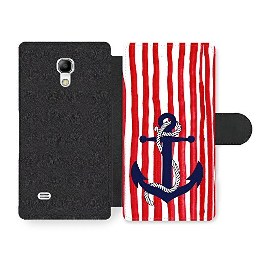 Micro Gorilla Blue Anchor on White and Red Stripe Background Hipster Faux Ledertasche Hülle fürSamsung Galaxy S4 Mini -