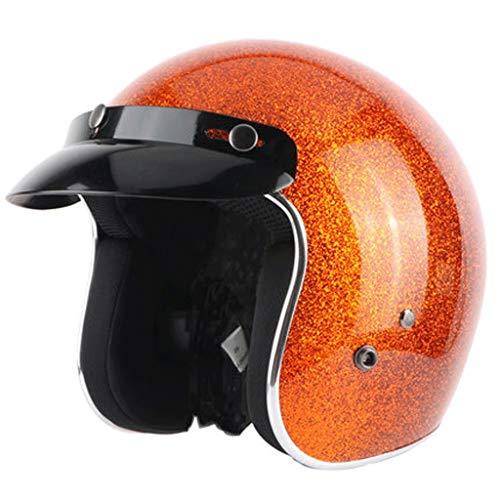 Retro Helm männer Vier Jahreszeiten Elektrische Motorrad Damen Helm Sommer Mode Abnehmbare Lokomotive Fiberglas Halben Helm (Farbe : Orange, größe : L)