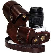 First2savvv XJPT-K30-10 Funda Cámara cuero de la PU cámara digital bolsa caso cubierta con correa para Pentax K5II K5IIS K30 K50 lente with 18-55 18-135 mm lens marron oscuro