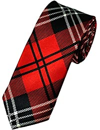 Mens Satin Red Tartan Skinny Tie