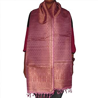 Stole Wraps Brocade Silk Antique Design Fashion Accessories from India 182.88 x 53.34 cms