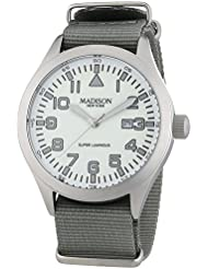 MADISON NEW YORK Herren-Armbanduhr XL Super Luminous Analog Quarz Nylon G4721D3