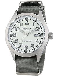 MADISON NEW YORK Herren-Armbanduhr XL Super Luminous Analog Quarz Nylon G4721D3