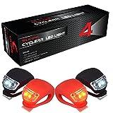CYCLERR LED Silikonleuchten-Set | Kinderwagen-Beleuchtung mit Batterie | Sicherheitsbeleuchtung Tretroller | Wasserfestes Silikon-Licht | Sicherheitslicht Laufrad Kinder | Einfache Montage