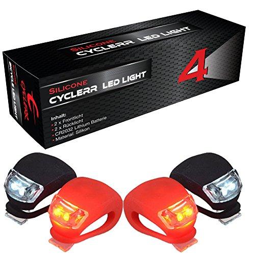 CYCLERR 4er Silikonleuchten-Set (2x LED weiß & 2x LED rot) | Kinderwagen-Beleuchtung mit Batterie | Sicherheitsbeleuchtung Tretroller | Wasserfestes Silikon-Licht | Sicherheitslicht Laufrad Kinder