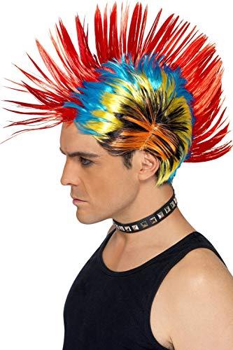 Smiffys Perruque punk de rue des années 80, Mohawk, multi couleurs