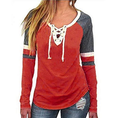 Subfamily® Frauen Mode V-Ausschnitt Patchwork Langarm lose Tops T-Shirt Bluse Streifen Bandage Beten Bluse Langarmshirt schlank Herbst Oberteile