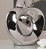 Moderno Vaso Di Fiori Decorativo a forma di mela, in ceramica argento altezza 26 cm larghezza 23 cm - Vaso decorativo a forma di mela colore argento - Dimensioni: 26x23 cm