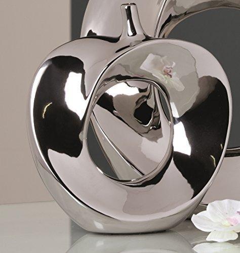 Moderne Deko Vase Blumenvase Apple aus Keramik silber Höhe 26 cm Breite 23 cm (Silber Vasen)