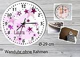 Kinder Wanduhr Kinderuhr Kinderzimmer Uhr mit Namen personalisiert laufruhig leise Sterne rosa (29 cm)