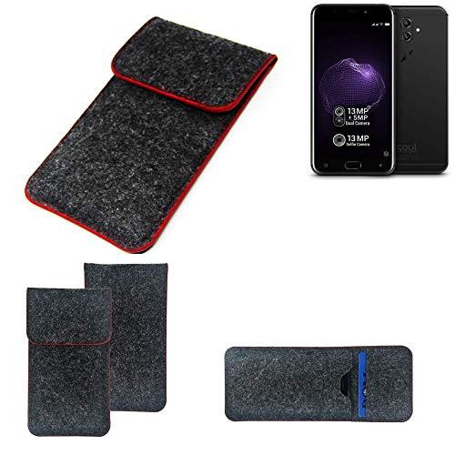 K-S-Trade® Filz Schutz Hülle Für -Allview X4 Soul- Schutzhülle Filztasche Pouch Tasche Case Sleeve Handyhülle Filzhülle Dunkelgrau Roter Rand