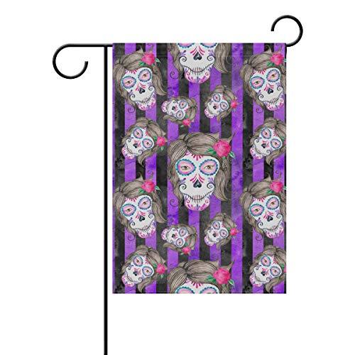 OKONE Sugar Skull and Stripe Print Doppelseitige Willkommen Garten Flagge für Hof Outdoor, Mehrfarbig, 12x18(in)