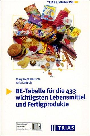 BE-Tabelle für die 433 wichtigsten Lebensmittel und Fertigprodukte