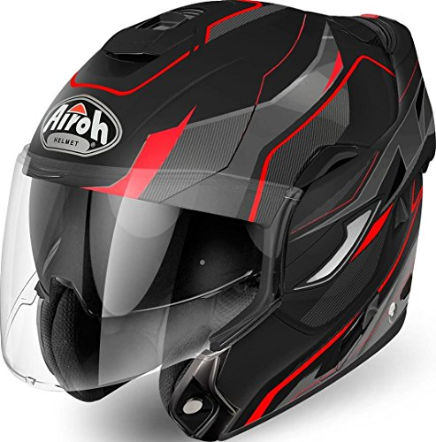 Airoh – Rev Revolution – Casco modular con mentonera abatible de color rojo mate M MATT BLACK RED