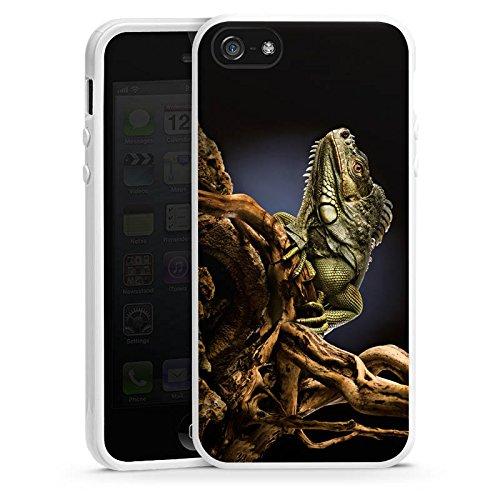 Apple iPhone 4 Housse Étui Silicone Coque Protection Saurien Reptile Animal Housse en silicone blanc