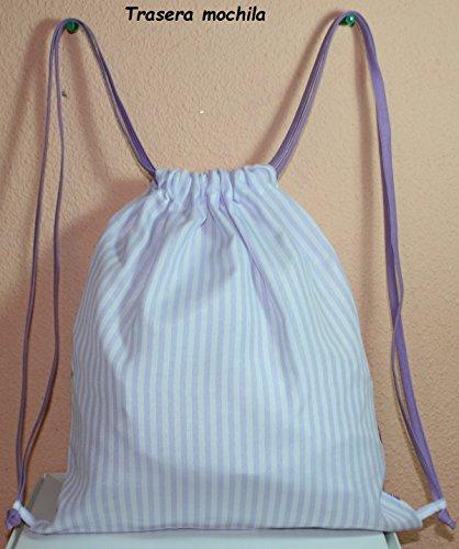 Imagen de bolsa  para niños/niñas, búos en tela vichy rayas morado blanco personalizada con nombre 30 x 35 cm. aproximadamente  alternativa