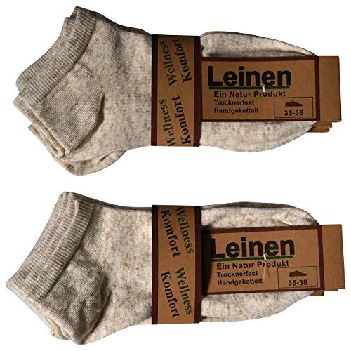 6 Paar Natur Leinen Baumwolle Sneaker Socken Füsslinge ohne Naht (39-42) -