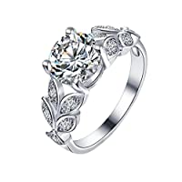Gespout Noble Diamond Ring Elegant Crystal Rings Wedding Jewelry For Women Girlfriend, Silver, Size M
