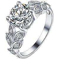doitsa Anillo Brillante Anillo de boda formas de hojas y diamantes Bijoux perfecto regalo Ideal para madre/Petite Amie, Argent 1, Diamètre 18.9MM