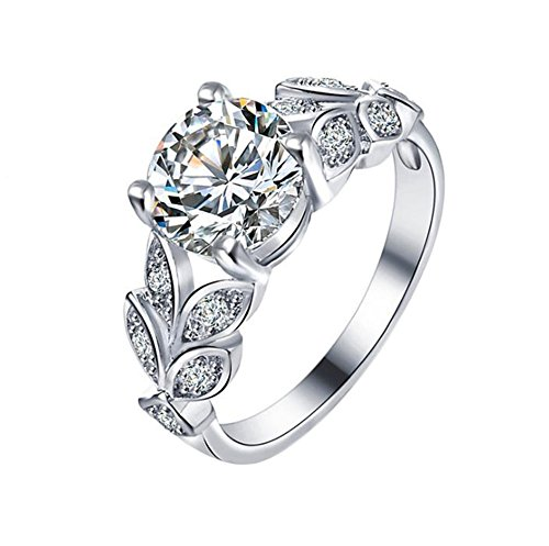Gespout Noble Diamond Ring Elegant Crystal Adjustable Rings Wedding Jewelry For Women Girlfriend