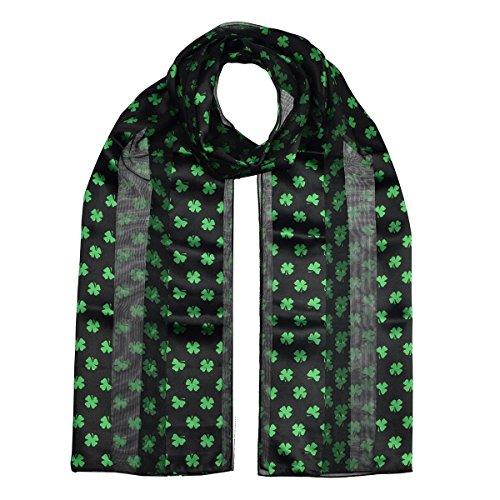 Unisex Men Women Lightweight Shiny Silky Celtic Irish Green Shamrock Scarf, Luck Shamrock Clover Satin Stripe Oblong Scarves, St. Patrick Day, Size: 35 cm x 148 cm