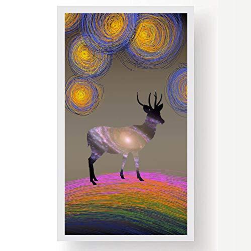 WSWWYEstilo de Dibujos Animados Ciervos Pintura al óleo póster y Lienzo Pintura...