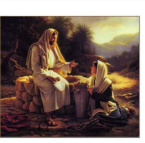 diy40*50cmHelfen Sie Gott Retter Malen durch Zahlen auf Leinwand auf dem Rahmen Einzigartiges Geschenk für Wohnzimmer Home Decor Wandkunst Frameless