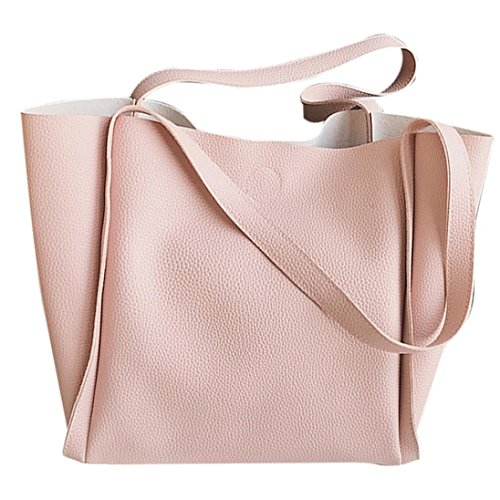 LILICAT Damen Handtasche Freizeit Zwei Stück Schultertasche Griff Taschen Mode Kuriertaschen Ladies Tasche PU Leder Frauen Handle Bag Chic Messenger Bag Elegant Shoulder Bag Groß (Rosa)