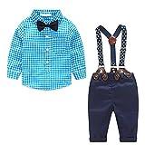 Baby Jungen 2 Stück Bekleidungssets Langarm Kariertes Hemd Bowknot + Hose Overalls Kleidung Blau 80CM