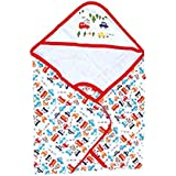 DOREME New Born Baby High Quality Extra Soft To Baby Delicate Skin Cartoon Print Hooded Housiry Chaddar Cum Odddna Wrapping/Wrapper Sheet Single Layer Baby Sleeping Bag Baby Cotton Sheet (Red)