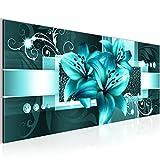 Bilder Blumen Lilien Wandbild Vlies - Leinwand Bild XXL Format Wandbilder Wohnzimmer Wohnung Deko Kunstdrucke Türkis 1 Teilig -100% MADE IN GERMANY - Fertig zum Aufhängen 008612a