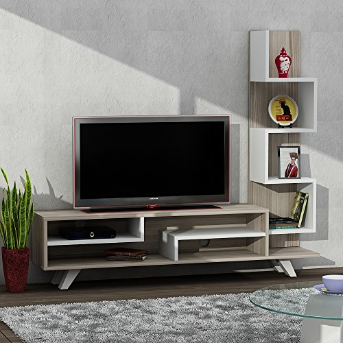 Wohnwand, Lowboard Wohnwandkombie TV Medienwand Anbauwand ISABEL in Weiss-Cordoba1698 - 4