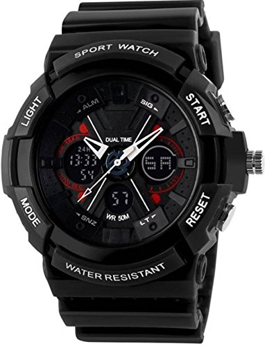 VILAM Unisex Fashion Sport Watch Analog/Digital Water Resist Dual Time Multifunction Alarm Led Wristwatch 0966