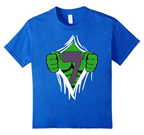 Grüne Superhelden Brust Geburtstags T-Shirt für 7-jährige Kinder, Größe 128 Königsblau