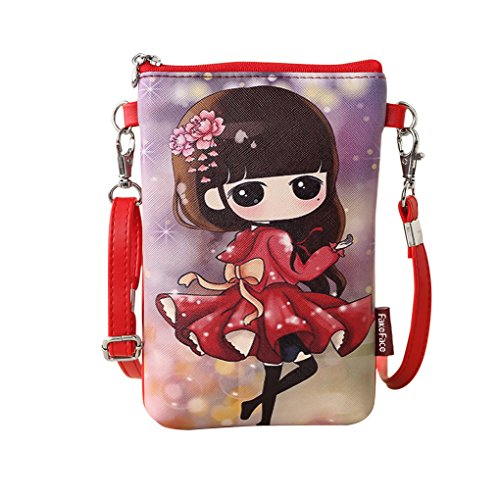 Fashion PU Leather Phone Pouch Cellphone Bag Money Pocket Cartoon Single Shoulder Bag Cross-body Purse with Adjustable Shoulder Strap for Teenagers Girls