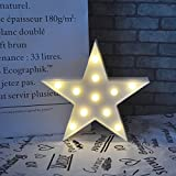 Letters Light Star Shape LED Night Light Marquee Light Battery Operated LED Night Lamp for Home Christmas Decoration-White