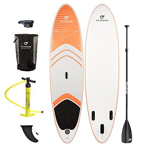 FIT OCEAN MAGIC GLIDE ORANGE. Aufblasbares 15 cm dickes Stand Up Paddelboard + Doppelhub-Pumpe + 3-tlg. verstellbares Paddle + guter Rucksack. EINFACHER PADDELN LERNEN: SICHERES STEHEN UND SUPER AUFTRIEB. iSUP 330x81x15cm Militärqualität, sehr steif / paddeln mit trockne Fusse (Board+Doppel Action Pumpe+Aluminium Paddel+Rucksack) (Sub-paddel)
