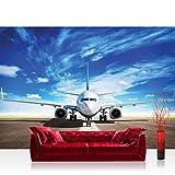 Fototapete 368x254 cm PREMIUM Wand Foto Tapete Wand Bild Papiertapete - Sonstiges Tapete Flugzeug Flughafen Himmel Transportmittel Wolken Reise natural - no. 4512