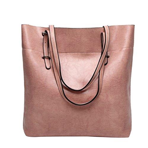 YiLianDa Taschen Damen PU Leder Elegant Handtasche Schultertaschen Umhängetasche Shopper Tasche Henkeltasche Beuteltasche Pink