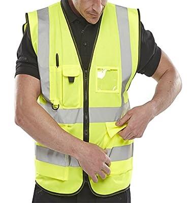 Islander Fashions Erwachsene High Visibility Weste Herren Sport Arbeitskleidung Sicherheit Reflektierende Weste M/5XL